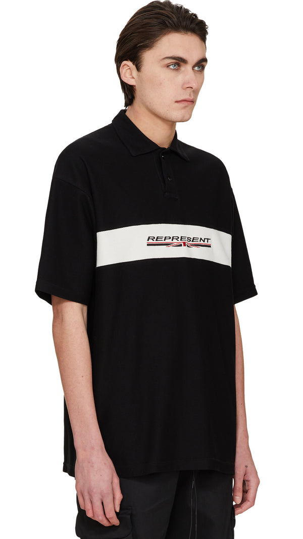 Stretch Logo Polo - Black