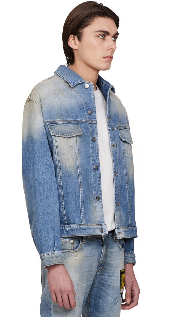 Patch Denim Jacket - Blue