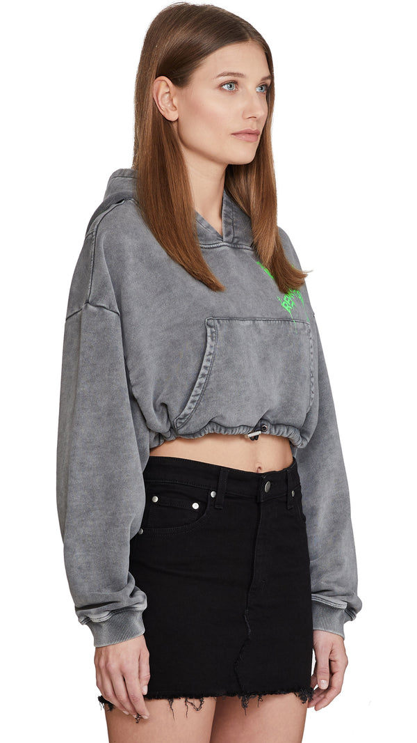 Women's Cropped Hoodie - Destroyed Logo