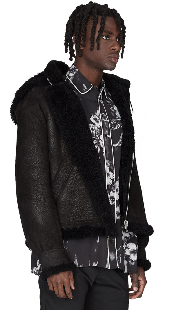 Cracked Shearling Jacket - Black