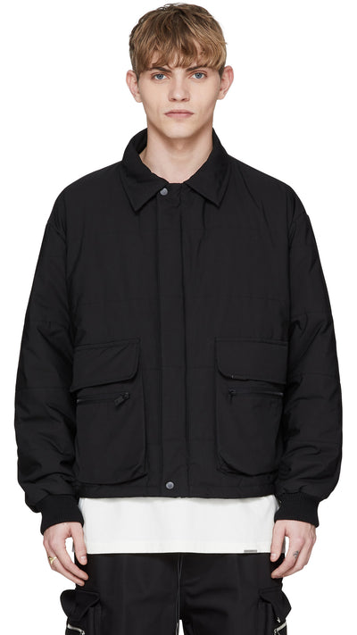 Collared Down Jacket - Black