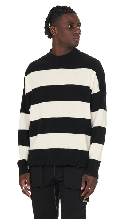 Stripe Knit Sweater - Black/Vintage White