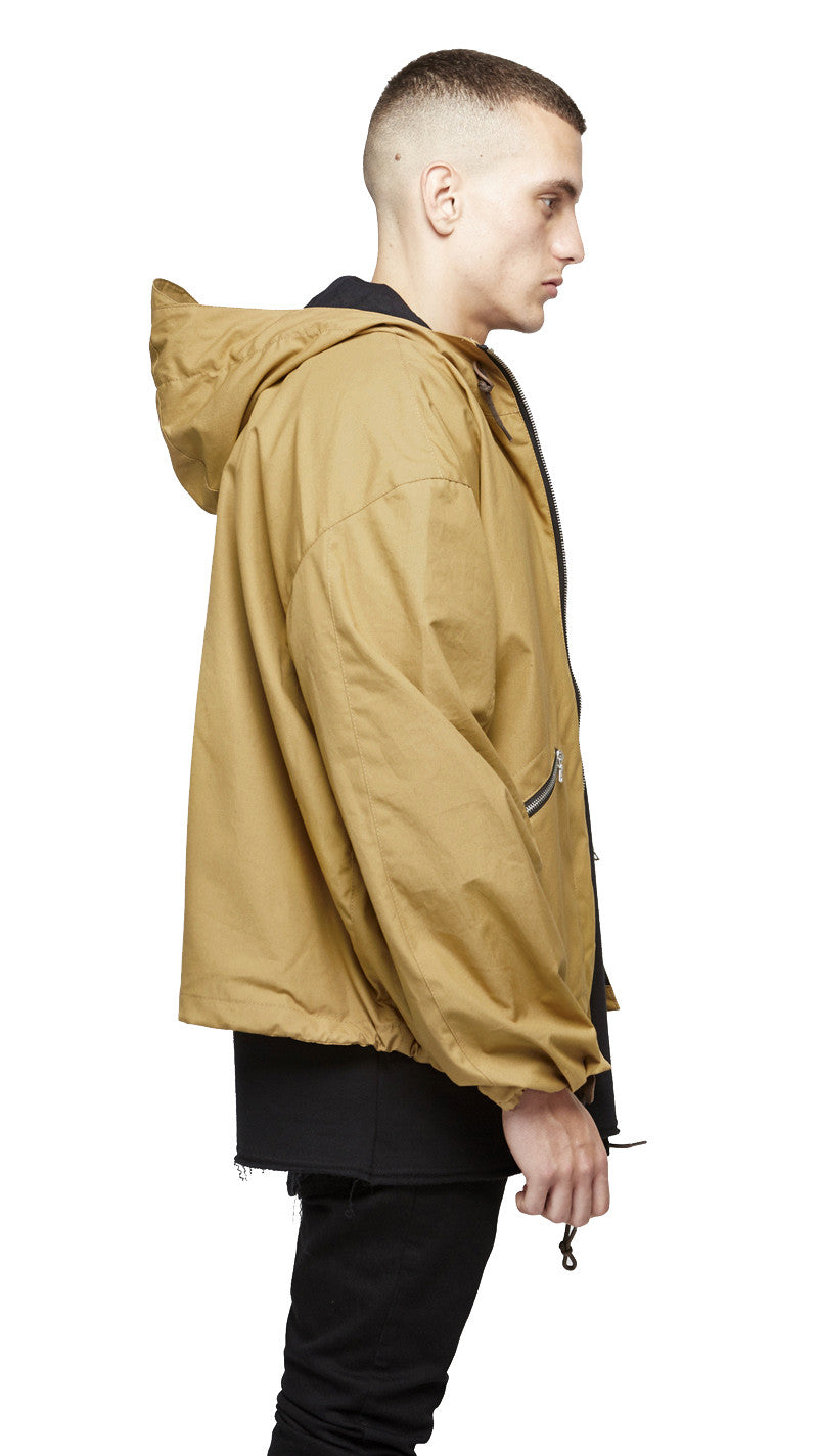 Zip-up Rain Jacket - Tan