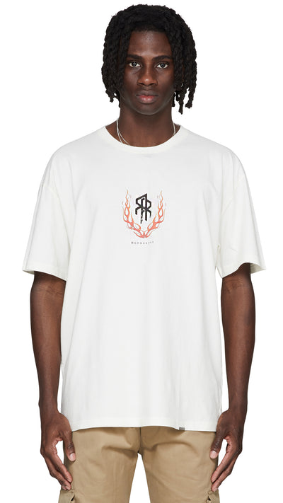 Flaming Double R T-Shirt - Vintage White