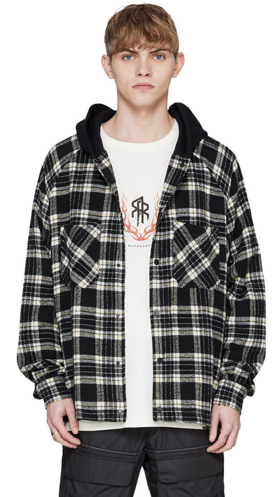 Hooded Flannel - Black / White