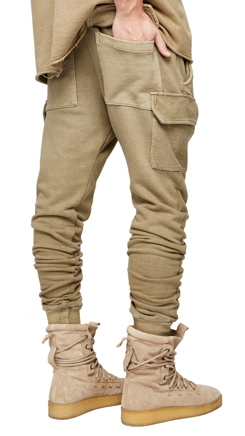 Military Joggers - Washed Tan