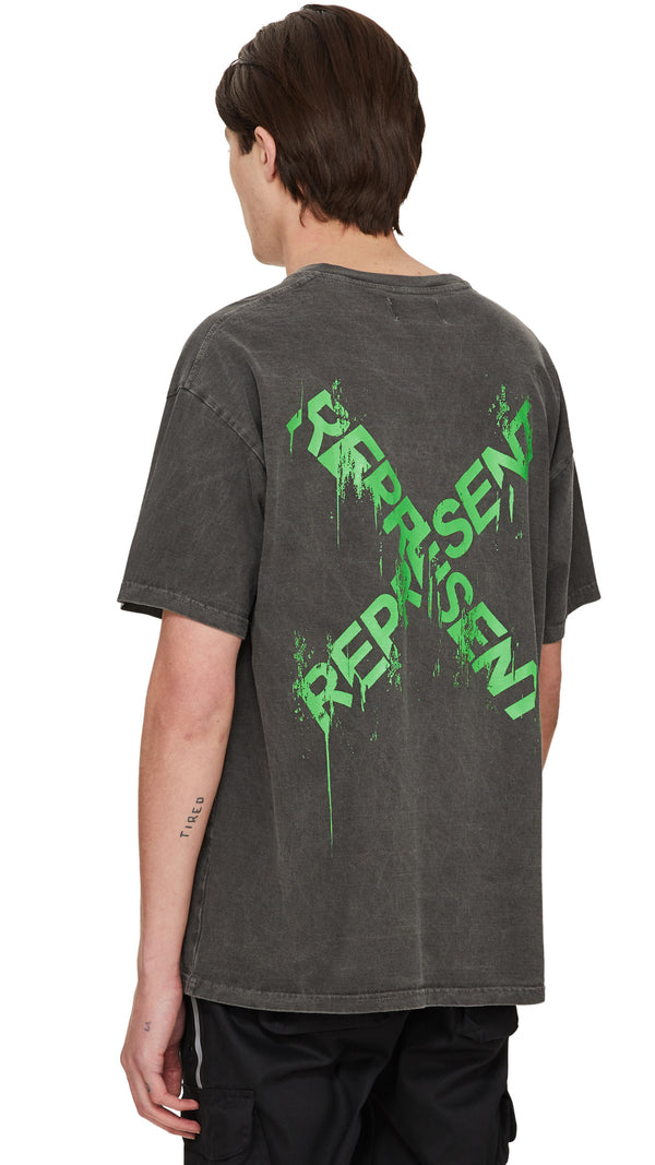 Destroyed Logo T-Shirt - Granite/Green