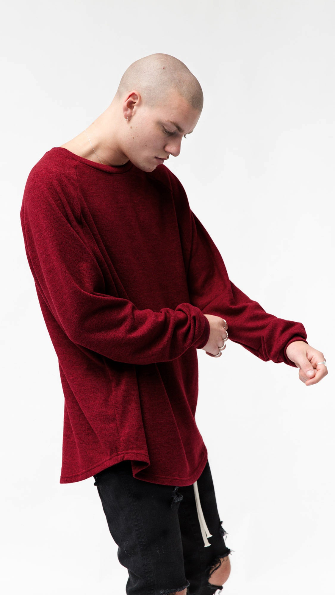 Long Sleeve Scallop T-shirt - Ox Blood