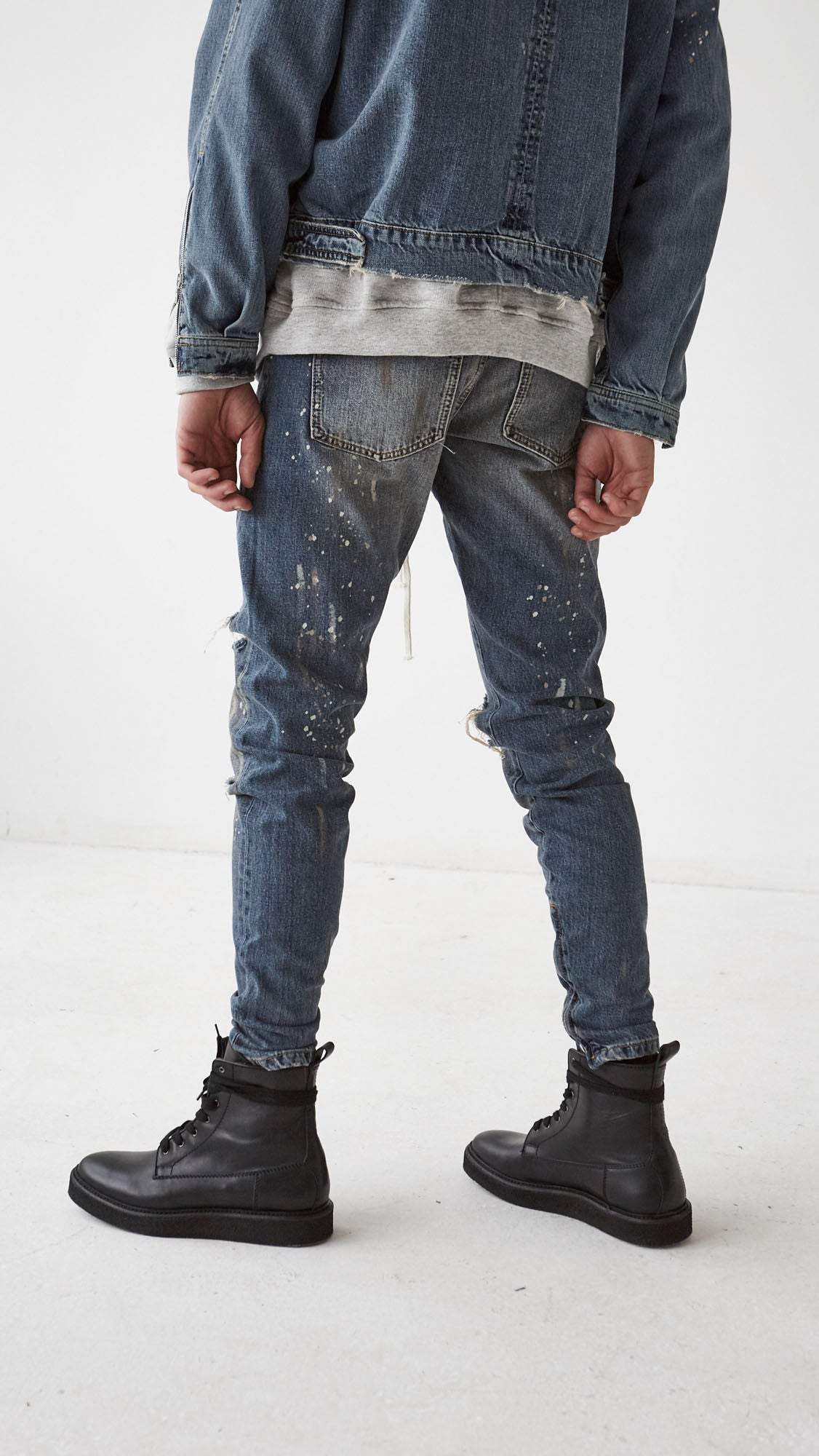 Hand Destroyed Selvedge Denim - Blue
