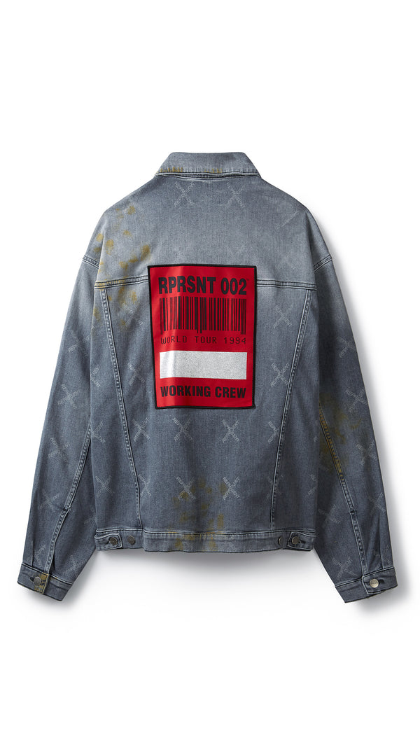 Patch Denim Jacket - Grey