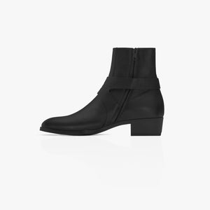 Strapped Boot - Black Leather