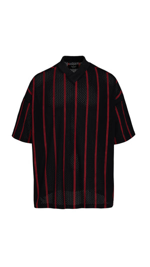 Mesh T-shirt - Black/Red Pinstripe