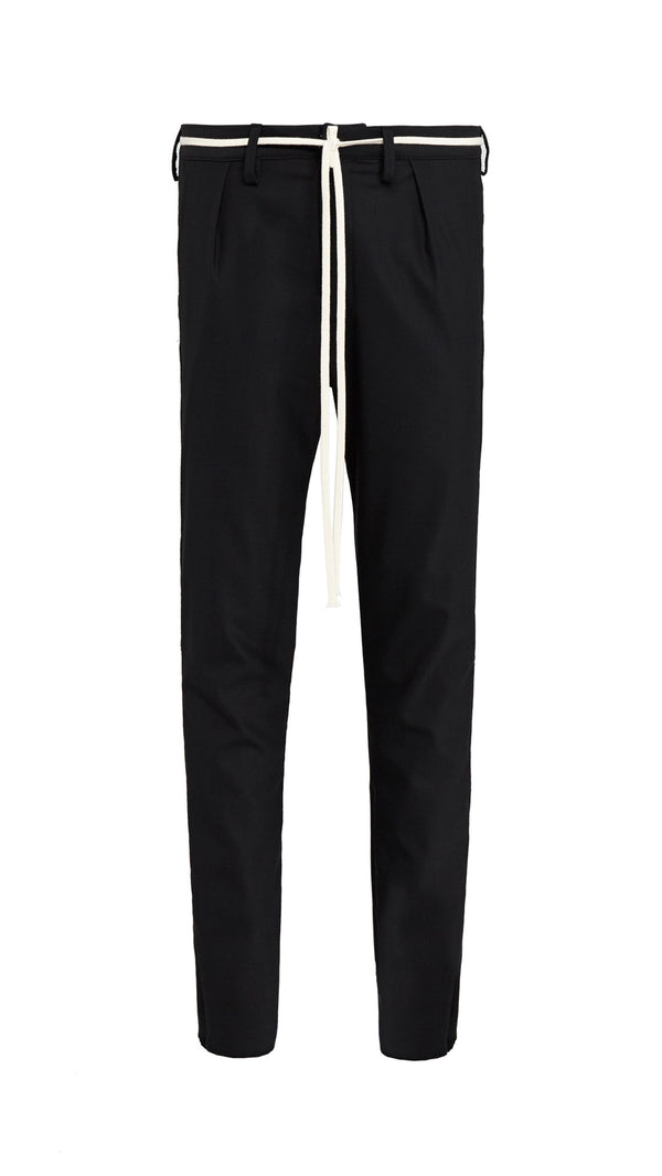 Smoking  Pants - Black/White Piping