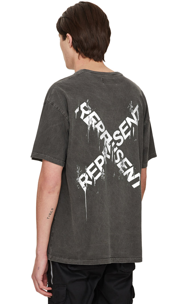 Destroyed Logo T-Shirt - Granite/White