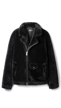 Faux Fur Biker Jacket