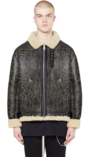 Shearling Jacket - Cracked Black