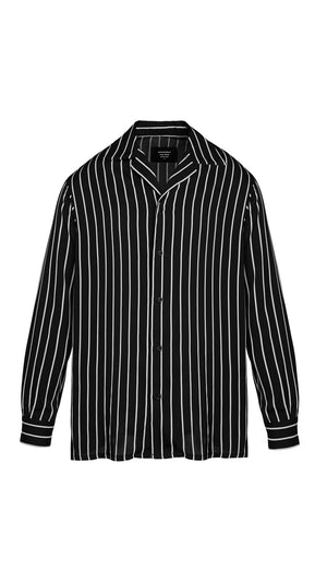 Long Sleeve Shirt - Black Pinstripe