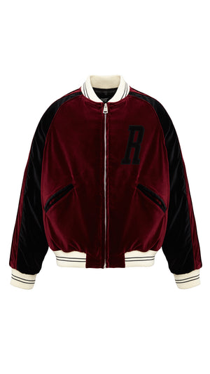 Velour Bomber - Wine & Black