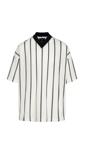 Mesh T-shirt - White/Black Pinstripe