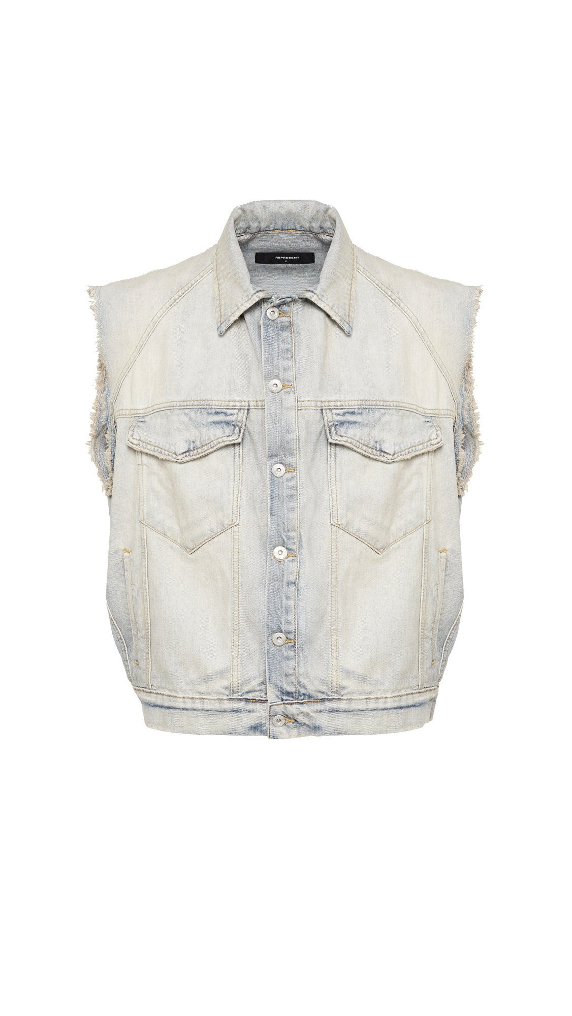Sleeveless Selvedge Denim Jacket - Pale Blue