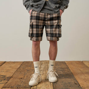 Military Shorts - Brown Plaid