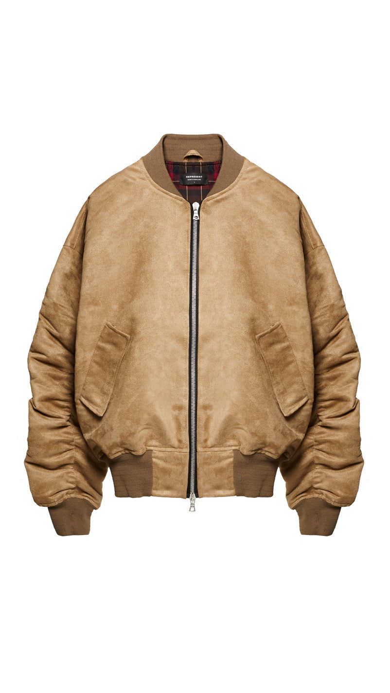 Suede Bomber Jacket - Tan