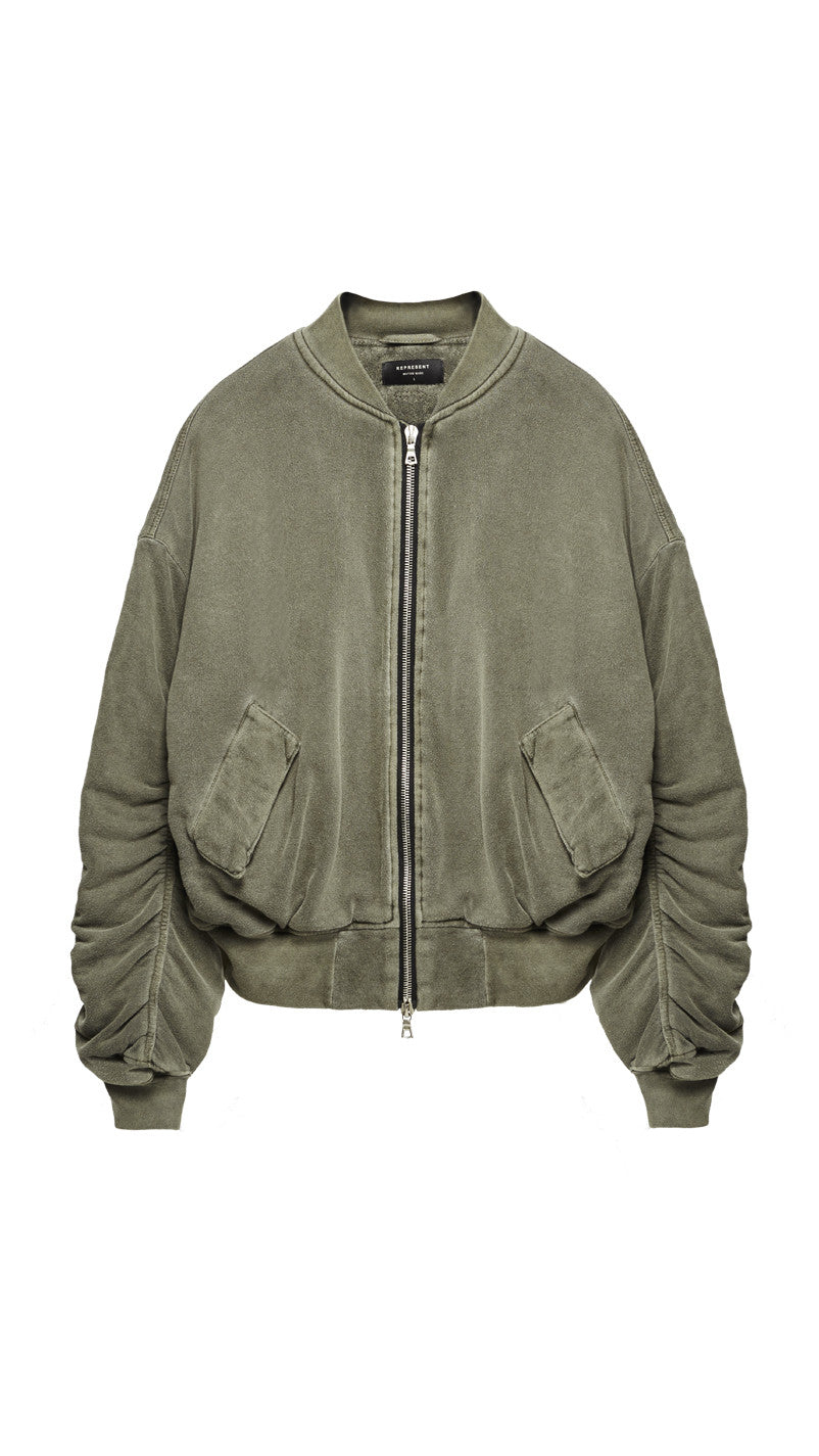 Heavy Cotton Bomber Jacket - Washed Burnt Olive