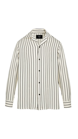 Long Sleeve Shirt - White Pinstripe