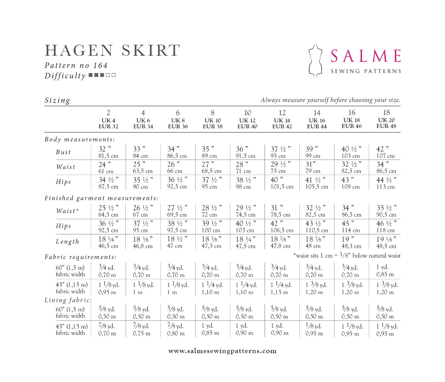 Hagen skirt pattern sizing and measurements