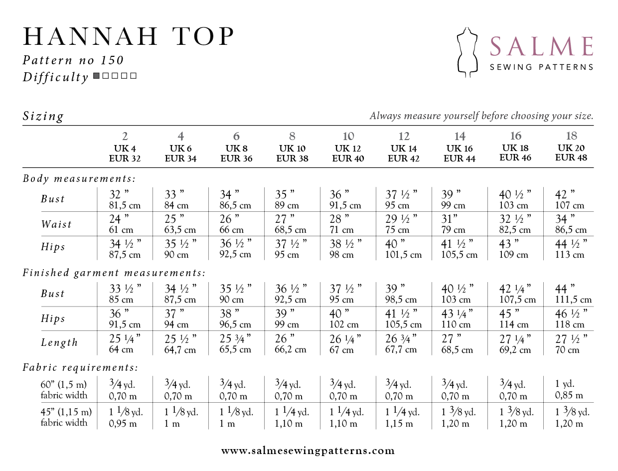 Hannah top pattern sizing and measurements