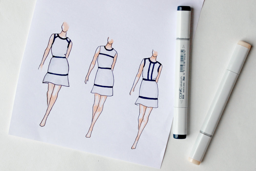 Contrast trim dress sketches