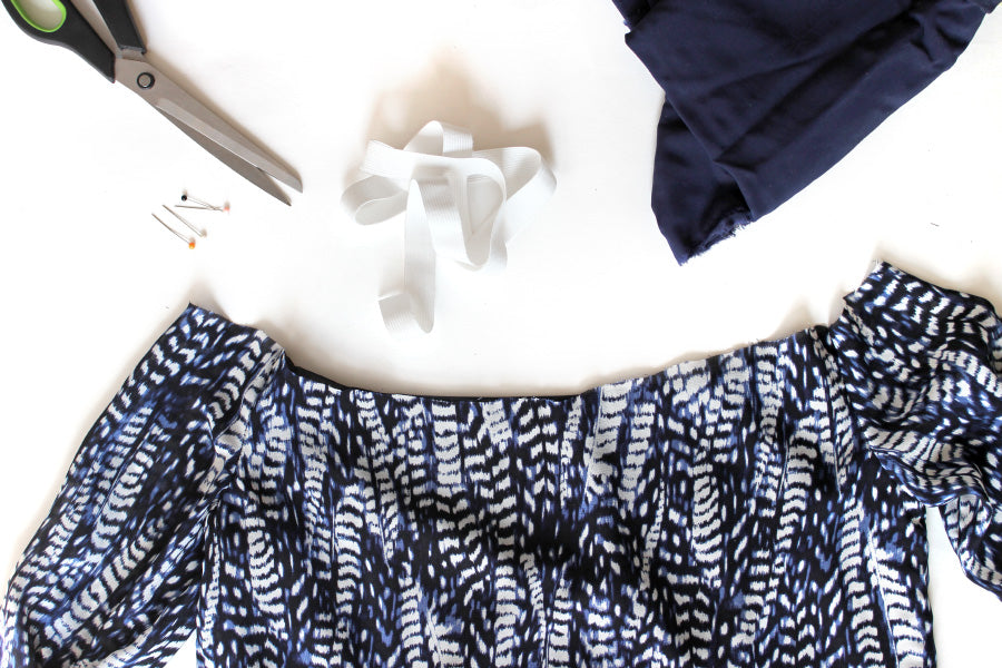 DIY cut off shoulder top supplies