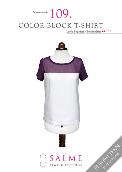 Digital Sewing Pattern - Color Block T-shirt