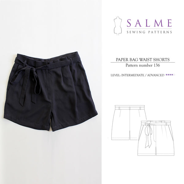 Digital Sewing Pattern - Paper Bag Waist Shorts