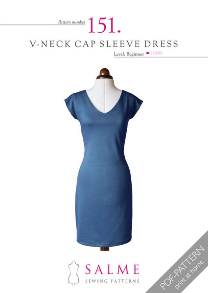 Digital Sewing Pattern - V-neck Cap Sleeve Dress