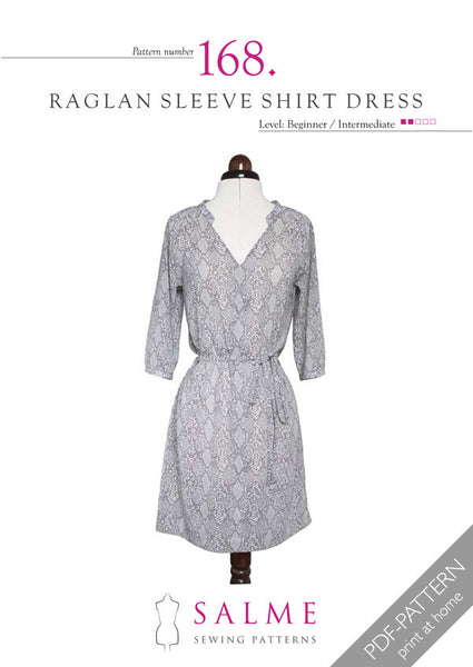 Digital Sewing Pattern - Raglan Sleeve Shirt Dress