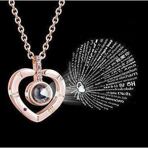 Heart Rose Gold 'I Love You' Necklace in 100 Different Languages | 1onelove.com