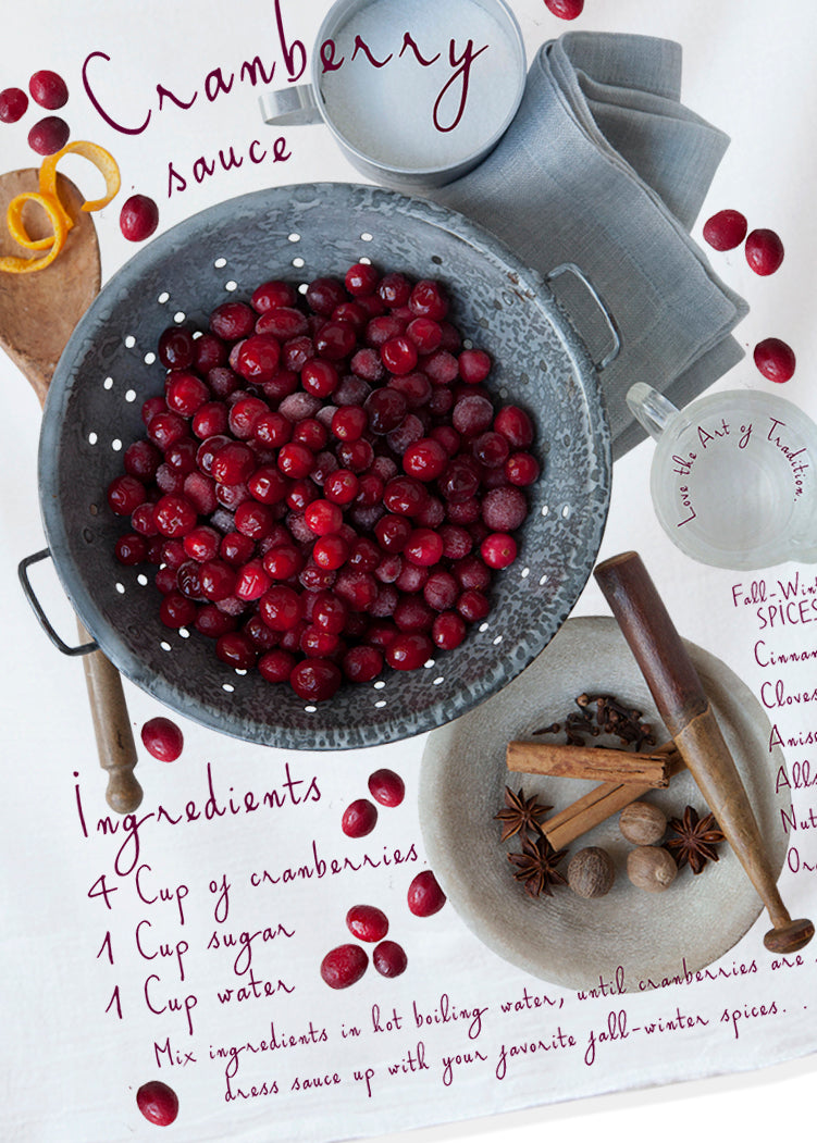 Gift giving made easy, a gift for the cook, cranberry sauce, Thanksgiving, hand printed kitchen towel. Original photography hand printed on cotton, Modern farm style.