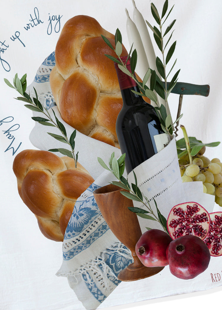 The beautiful Jewish tradition SAbbath is hand ptinted into a soft cotton flour sack, creating a out of the ordinary kitchen towel. At Red Bird's House we make gift giving easy with 80+ design to choose from.