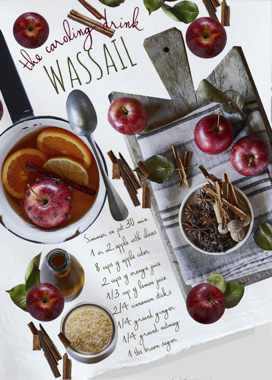 Wassail recipe Kitchen Towel bby Red Bird's House photos by Pauline Stevens