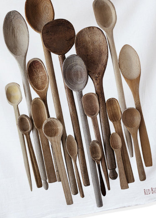 A COLLECTION OF WOODEN SPOONS IS HAND PRINTED ON COTTON.  GIFT GIVING MADE EASY.  HAND PRINTED ORIGINAL PHOTOGRAPHY BY RED BIRD'S HOUSE