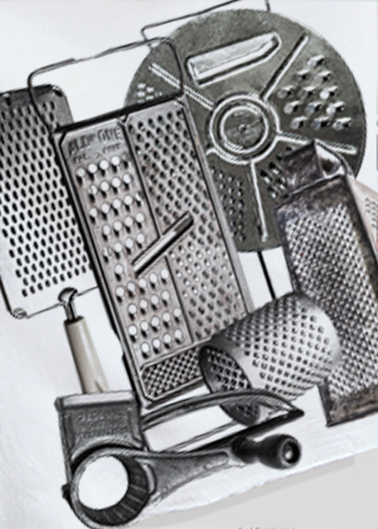 A collection og graters printed on a cotton flour sack.  Kitchen towel.