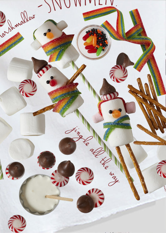 Kitchen towel with  marshmallow snowmen a christmas tradition created by Pauline Stevens and Red Bird's House