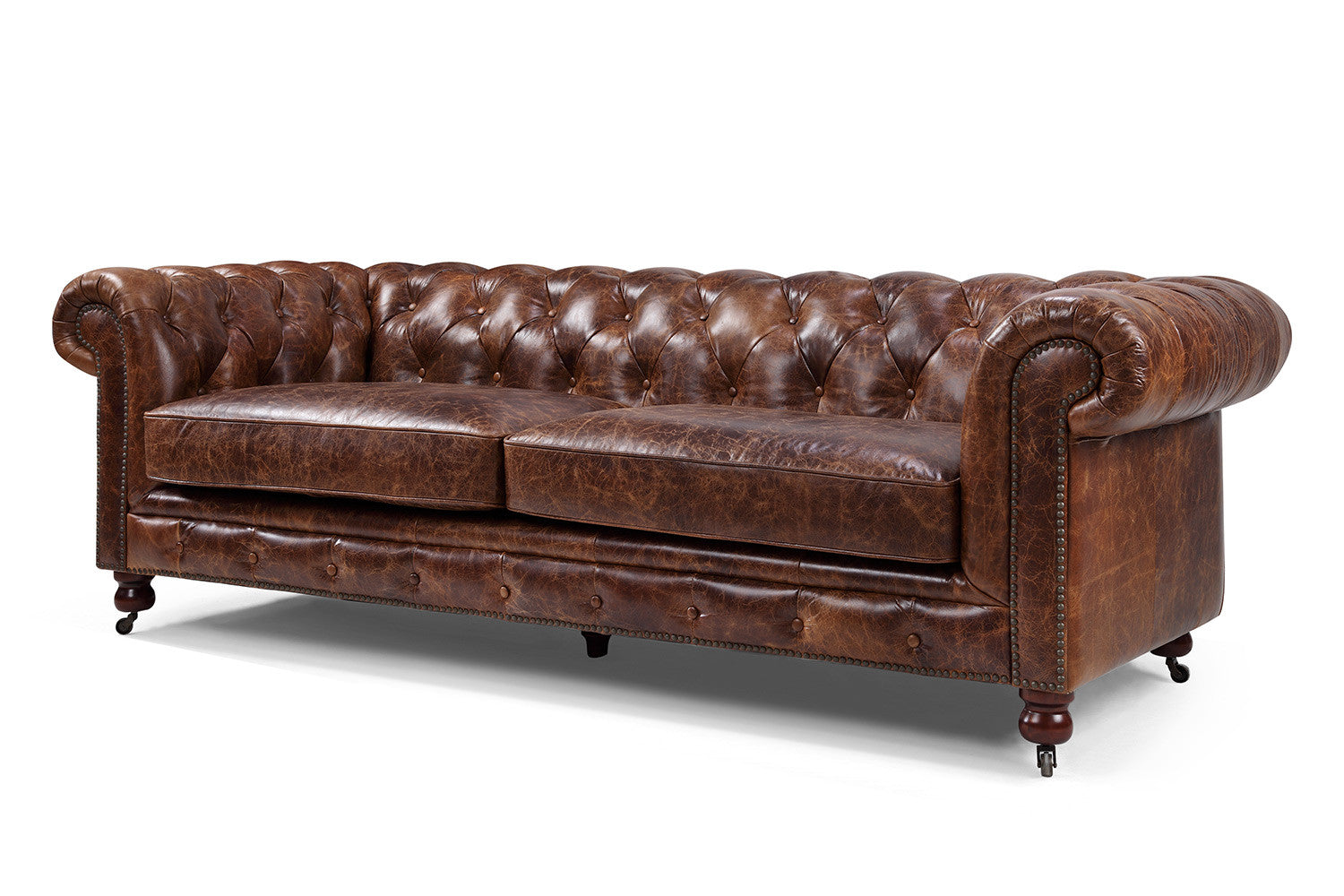 Canap chesterfield en cuir kensington rose moore - Canape chesterfield rouge cuir ...