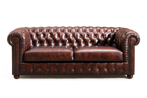 Canapé Chesterfield en cuir marron vintage Rose & Moore de face RM-95