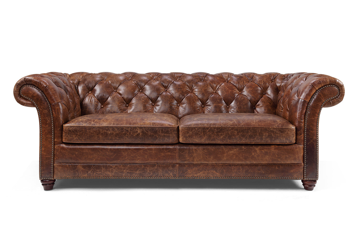 Canap chesterfield en cuir westminster rose moore for Chesterfield canape