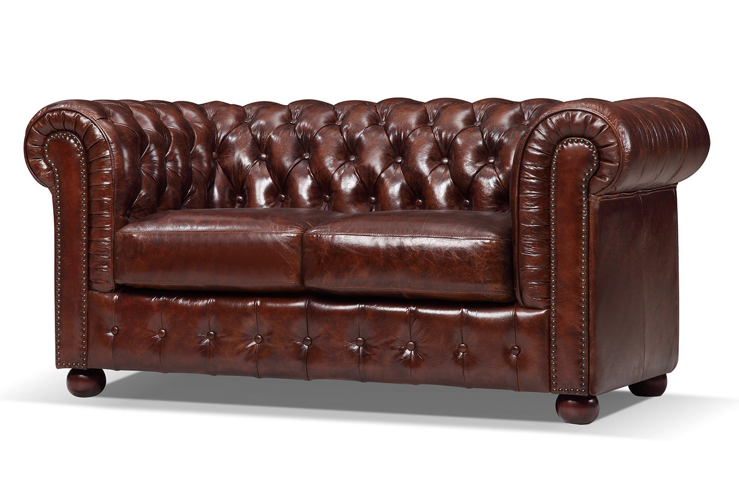 Canap chesterfield original 2 places rose moore for Canape chesterfield cuir 2 places