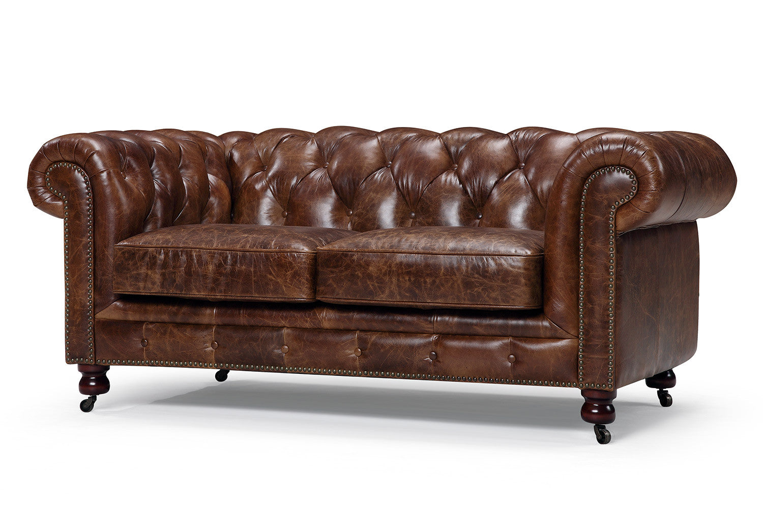 Canap chesterfield en cuir kensington 2 places rose moore for Canape chesterfield cuir 2 places