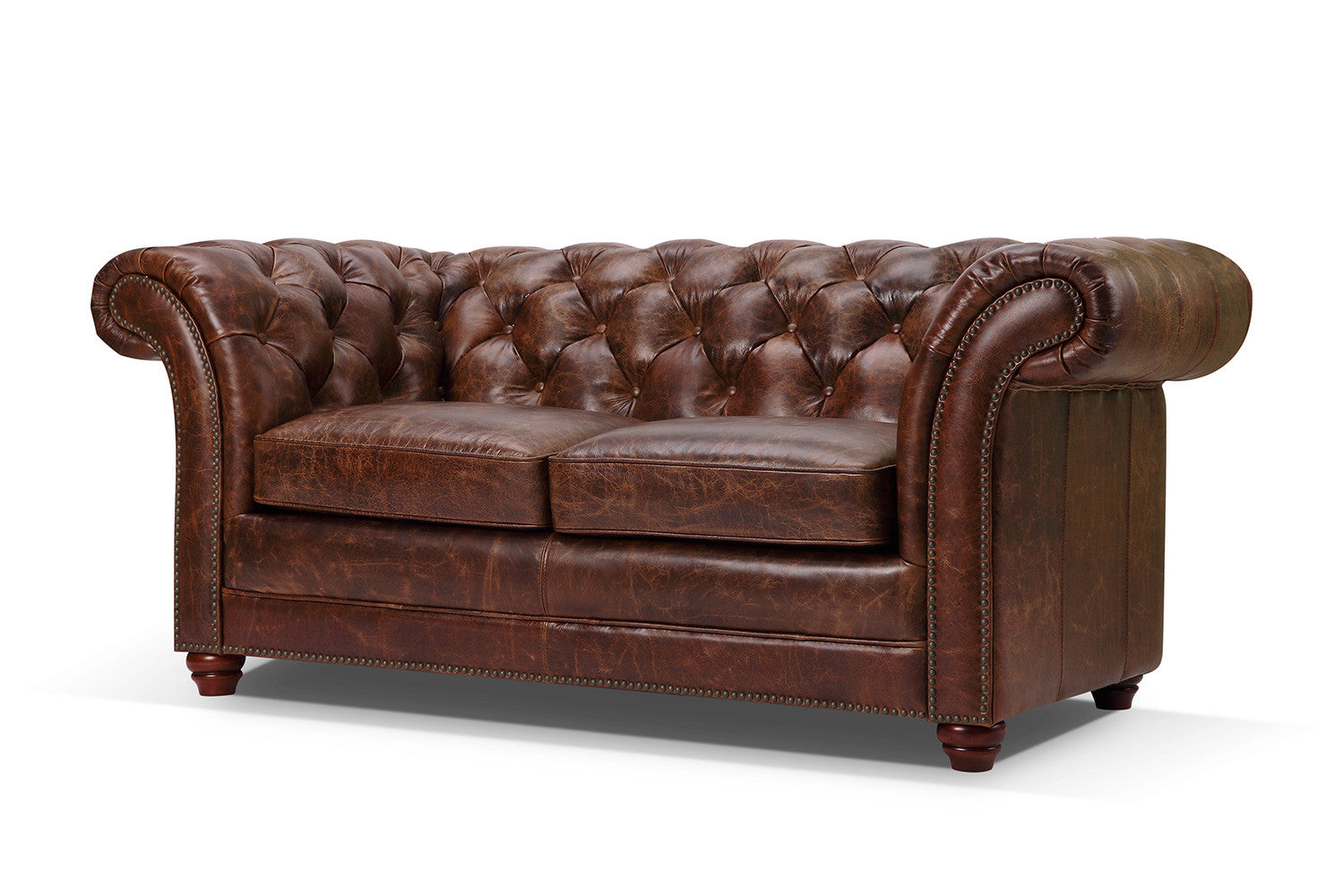 Canap chesterfield en cuir westminster 2 places rose for Chesterfield canape