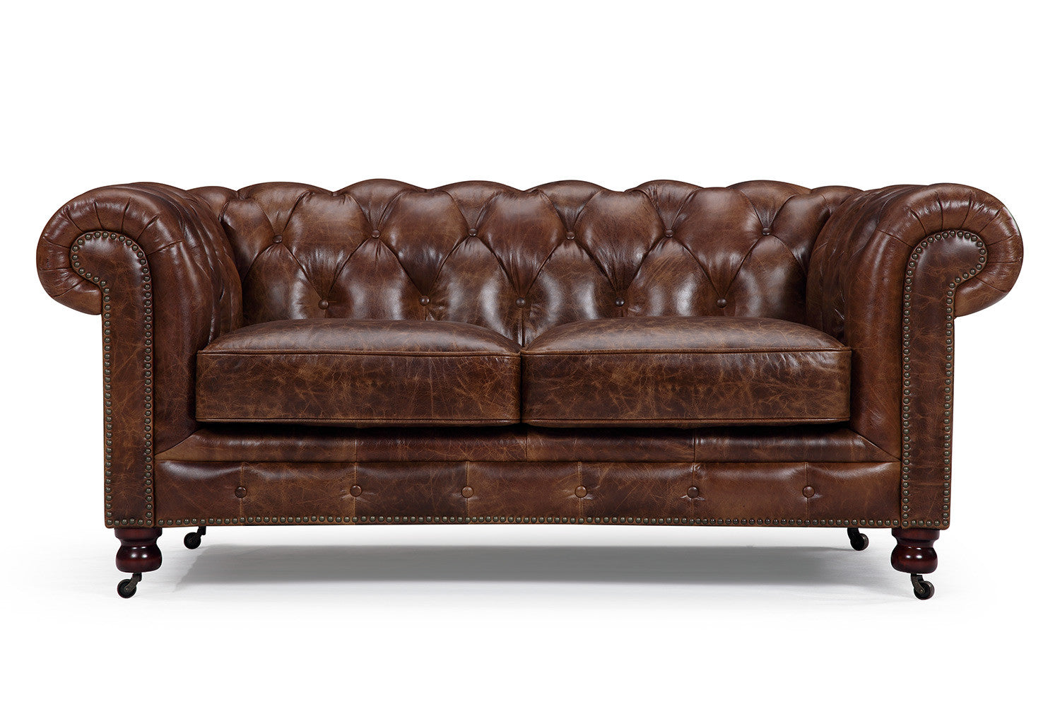Canap chesterfield en cuir kensington 2 places rose moore for Chesterfield canape